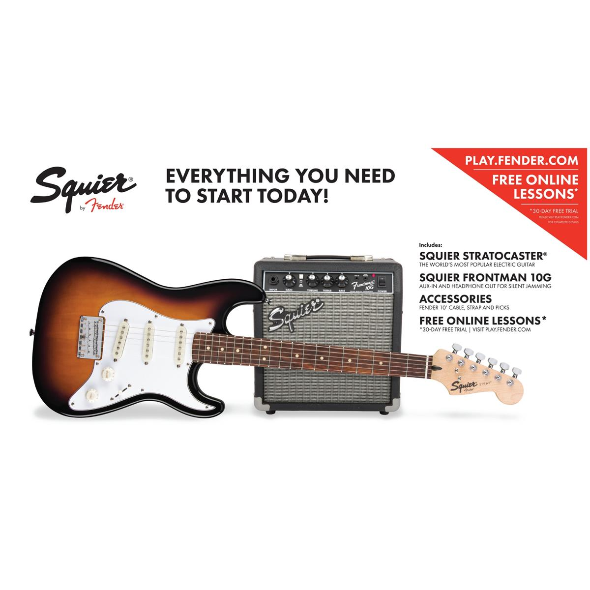 SQUIER STRATOCASTER Strat SS PACK KIT SET SUNBURST ( Short-Scale ) 0301812632