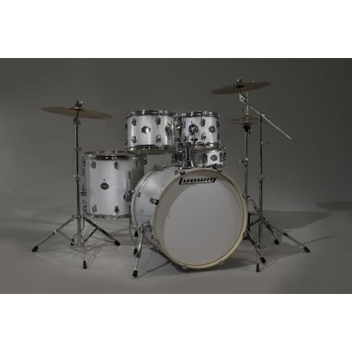 LUDWIG LCF50P-28 - Element Pop White Sparkle 10/12/14/20/14 - Batterie / Percussioni Batterie - Batterie Acustiche (set)