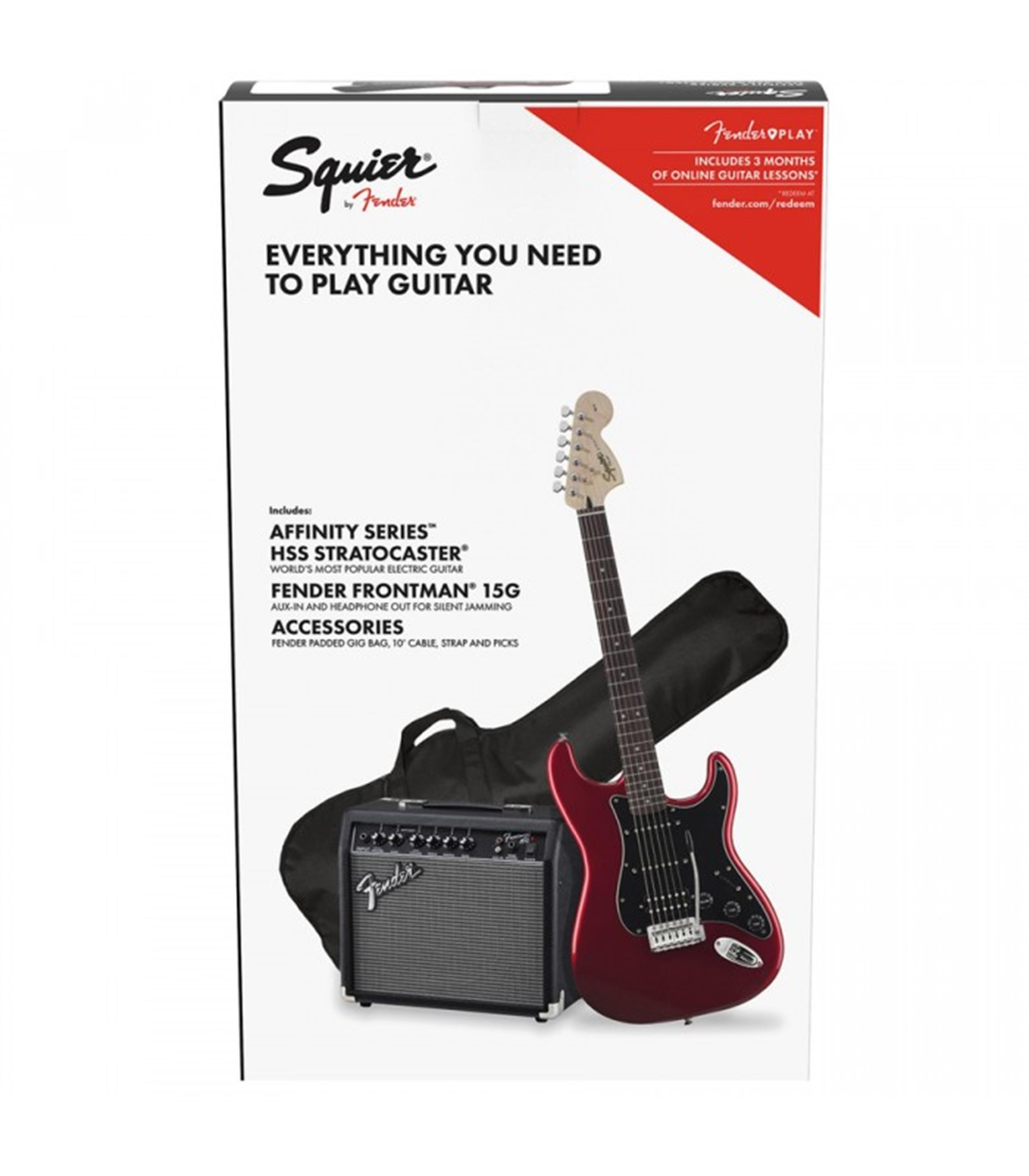 SQUIER AFFINITY PACK KIT SET STRAT STRATOCASTER HSS CAR CANDY APPLE RED 0371824609