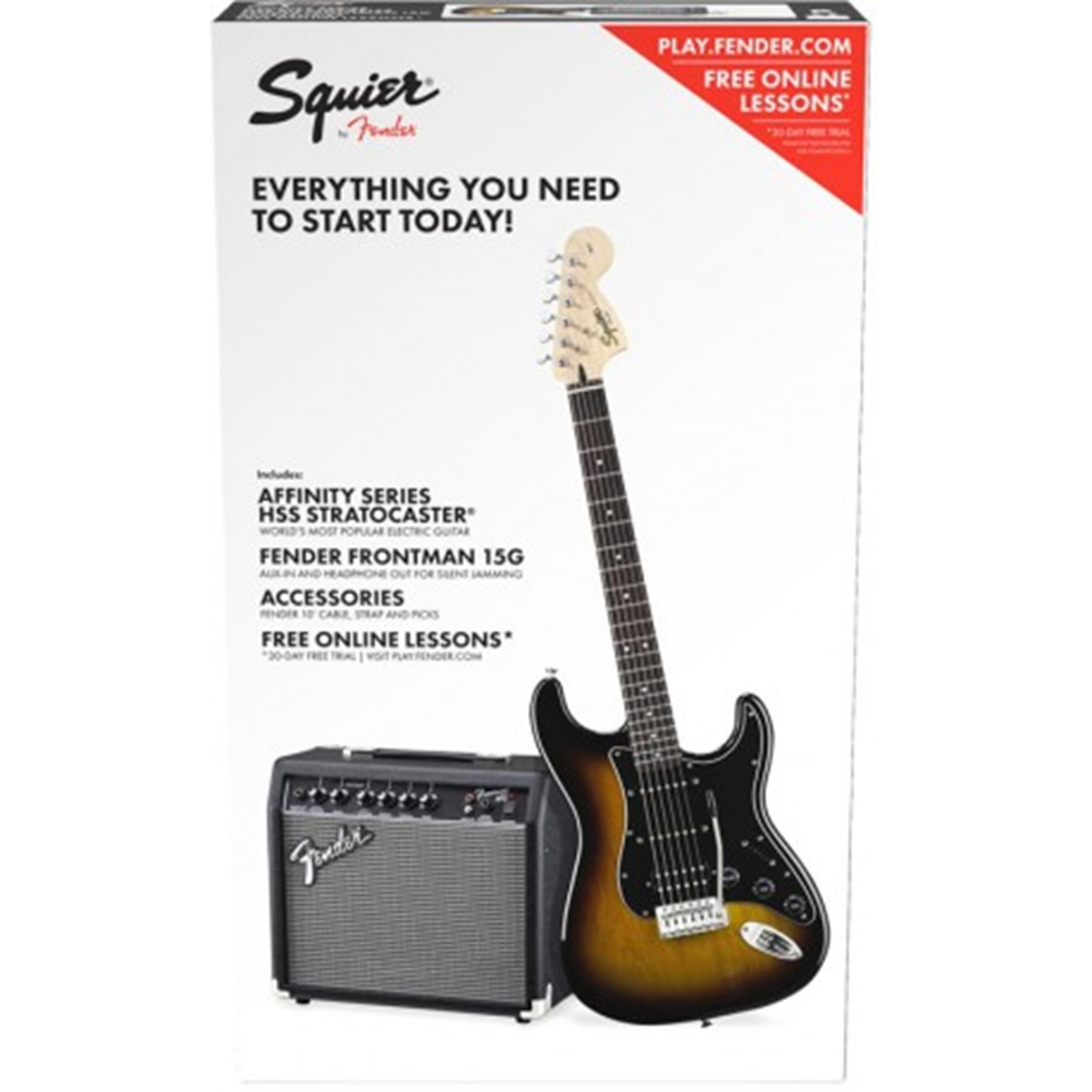 SQUIER AFFINITY PACK KIT SET STRATOCASTER STRAT HSS BSB BROWN SUNBURST0371824632