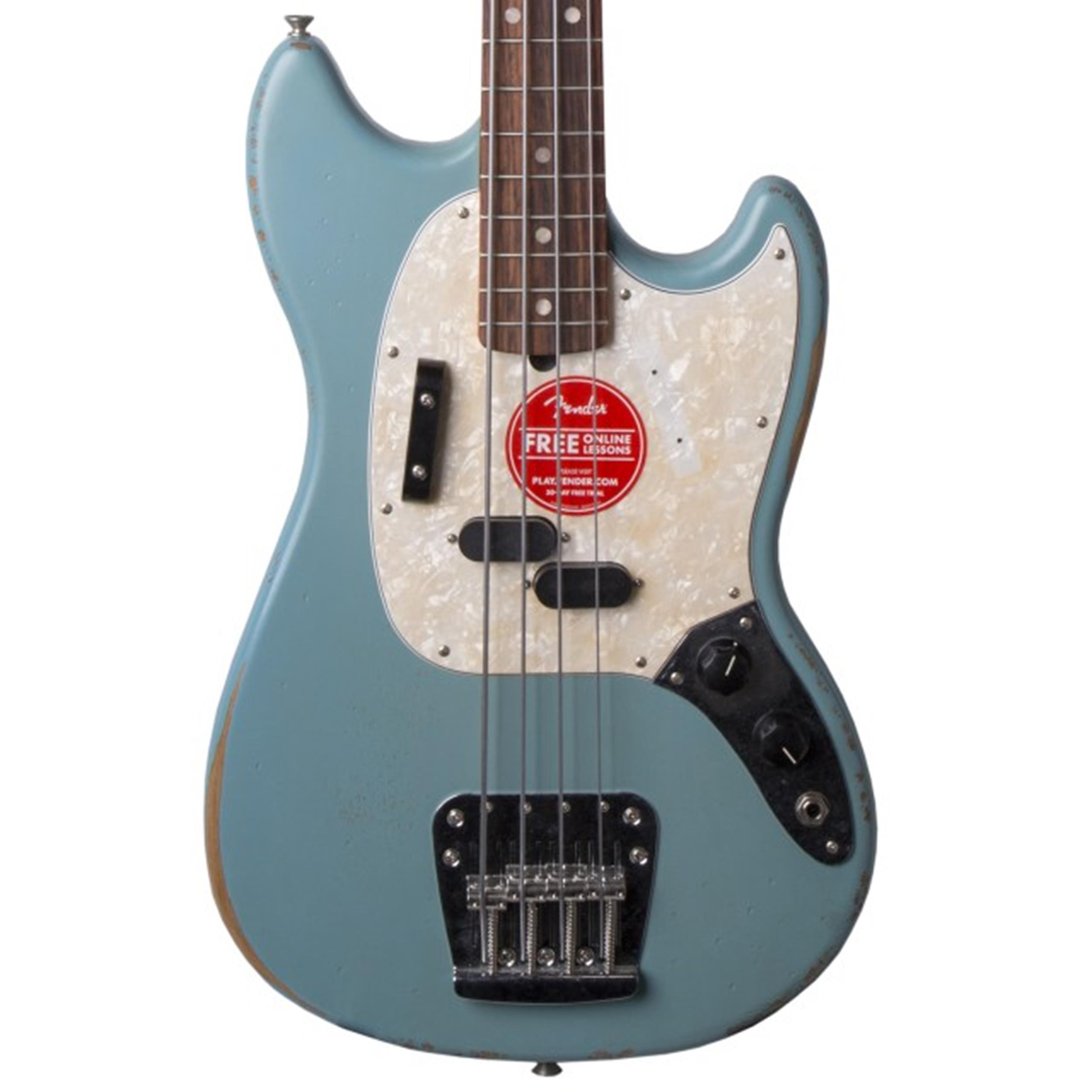 FENDER JMJ Road Worn Mustang Bass RW Faded Daphne Blue Justin Meldal Johnsen s 0144060390