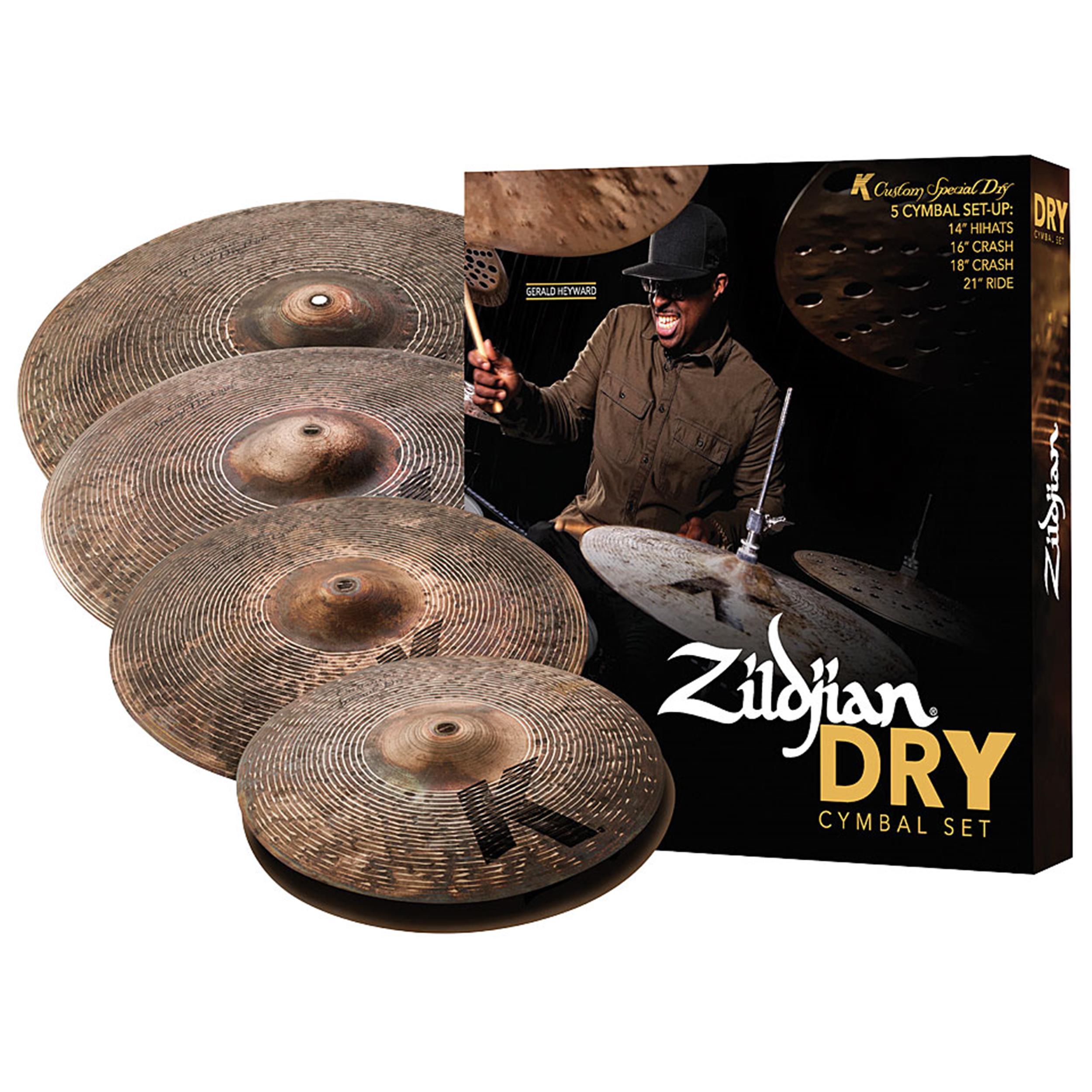 Zildjian Cartone 5 K Custom Special Dry (KCSP4681): ride + hi-hat + 2 crash