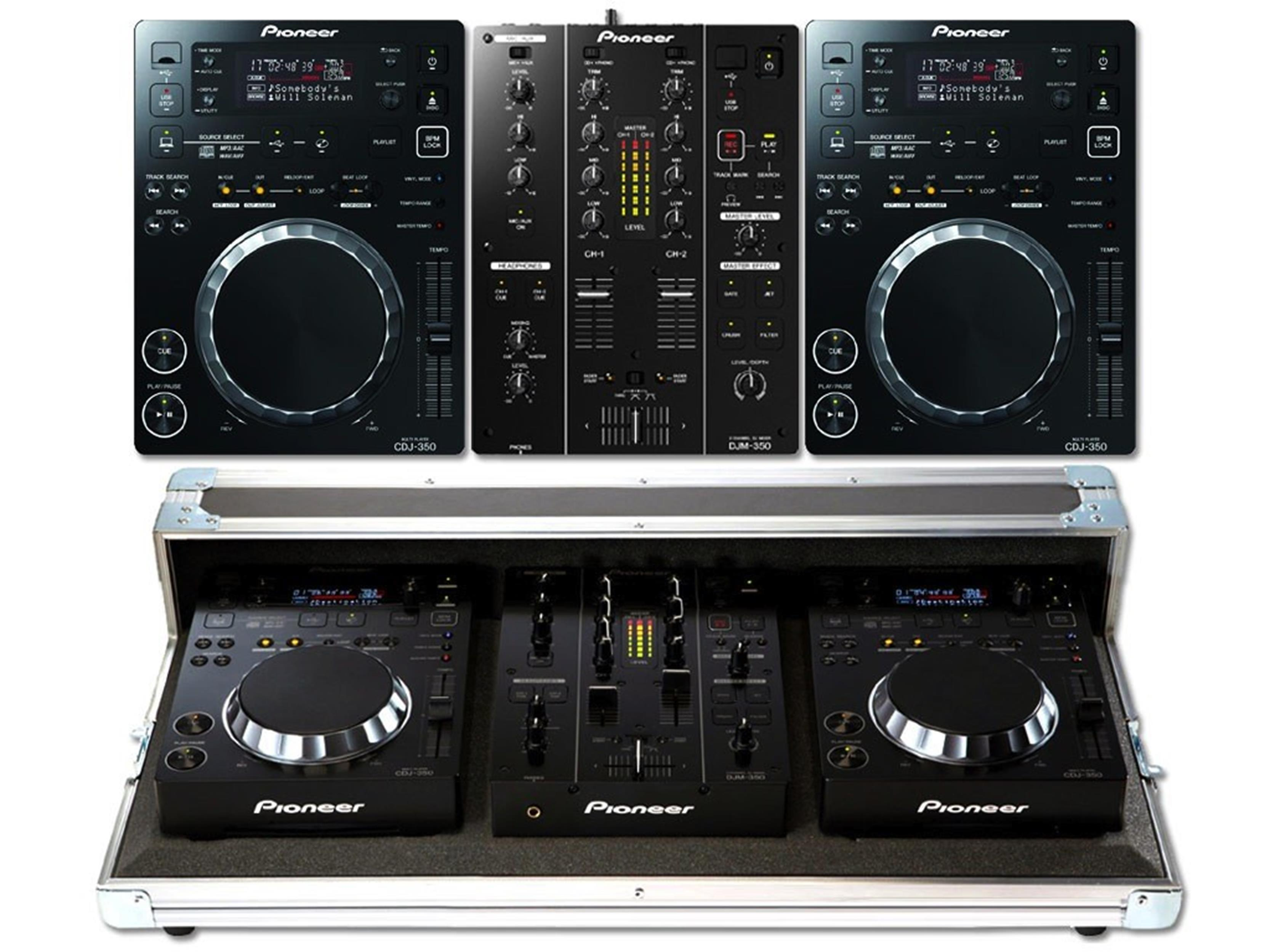 PIONEER KIT 350 PACK 2 MIXER 2  CD PLAYER + CASE